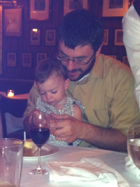 A & Uncle C enjoying some birthday cheesecake!